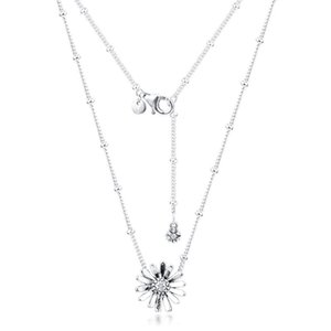Pandora Sparkling Infinite Paving Daisy Flower Korea and Women's Crystal Necklace Gift Jewelry 925 Sterling Silver Necklace Pendant 45cm