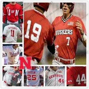 2019 Nebraska Cornhuskers # 7 Angelo Altavilla 13 Chade Luensmann 24 Aaron Palensky 39 Mojo Hagge 44 Bo Blessie Cinza Branco Vermelho Huskers Jersey