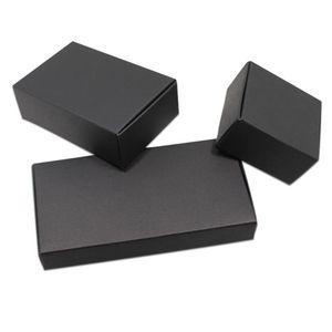 50pcs noir / blanc en carton de papier Coffrets cadeaux pour mariage anniversaire Favors bonbons artisanat d'emballage Boîte de rangement Kraft Boîtes emballage