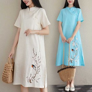 2020 chinese dress cheongsam qipao women cotton and linen cheongsam dress short sleeve qipao dresses for women floral print