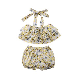 La ropa del bebé embroma Trajes florales cabestro sin tirantes del tubo Tops + suelta los pantalones cortos 2pcs del verano ropa de la muchacha