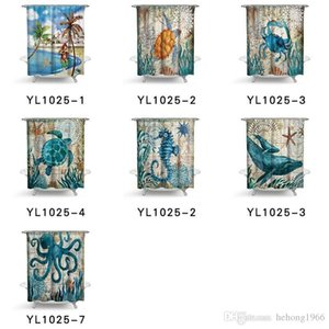 Green Turtle Shower Curtain Marine Animal Polyester Fabric Printing Waterproof Mildew Resistant Curtains With Hook Bath Accessories 35ll2 bb