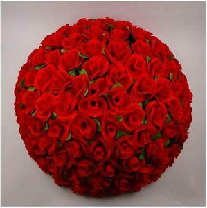 40 cm 16 pouces Élégant blanc Artificielle Décoratif Soie Fleurs Rose Embrassant Ball DIY Artisanat Ornement Pour La Décoration De Noce Fournitures