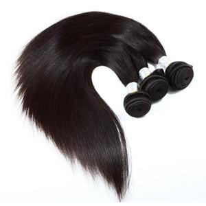 Disponibile a buon mercato 7A estensioni dei capelli umani brasiliani naturali capelli lisci neri tesse nessun groviglio 3 pezzi / borsa