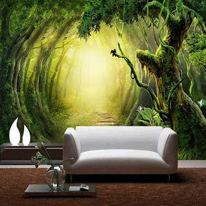 Dropship Пользовательские Фото обои 3D Stereo Green Forest Path Фрески Гостиная TV Диван Home Decor ПВХ водонепроницаемый наклейки