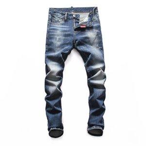 Mode Hommes deisgner Jeans Ripped Skinny Jeans Biker bande blanche Blanchi couture rétro pantalon Zipper impression pantalon design mens