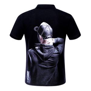 crânio Camisas Polo Homens roupas da moda cristal de manga curta T-shirt do tigre calssic alta qualidade preto branco negócio topos Casual tee M-3XL