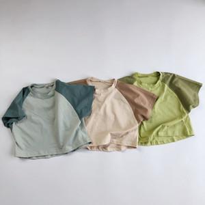 INS Mode Enfants Garçons Filles T-shirts Patchwork coton Tops qualité d'été T-shirts pur ColorsChildren garçons Hauts unisexe enfants T-shirts M2163