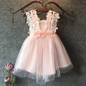 2-7Years Lace Flower Sleeveless Dress for Toddler Kids Girls Ball Gown Princess dresses SummerMY5f#