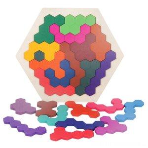 خشبي الألغاز الألغاز الألغاز ألعاب الدماغ المضايقون لعبة للكبار للأطفال 14 جهاز كمبيوتر ملون السداسي المرح الهندسة المنطق Tangrams لغز جدول IQ