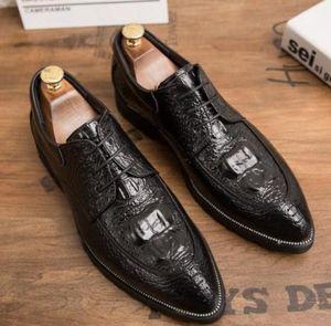 New Men Dress Shoes Formal Wedding Genuine Leather Shoes Retro Brogue Business Office Men's Flats Oxfords For Men b62