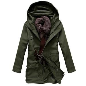 LEFT ROM 2019 Мода мужской Высококачественная теплая зима длинная толстовка с капюшоном Тренч куртки / мужчины досуг Хлопок ватник пальто