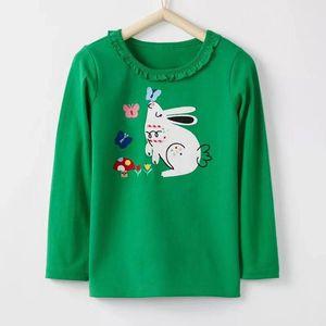Filhinhos Maven marca bebê de algodão roupas de grife menina partes superiores das meninas impressão de coelho animal verde camiseta 2-6T