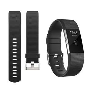 Fitbit 충전 용 2 밴드 실리콘 고무 스마트 스포츠 휘트니스 시계 손목 스트랩 Fitbit 충전 용 2 손목 밴드 검정색