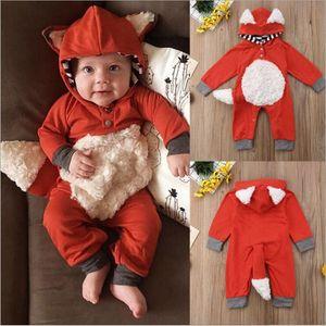 Mamelucos del bebé de los muchachos de la cremallera del mono de Fox Kids Ropa de diseño infantil de la manga larga de algodón monos Onesie Trajes de subida de la ropa DYP6915