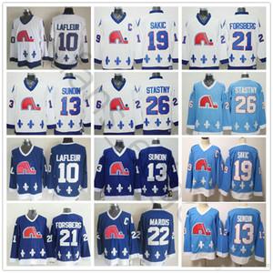 Vintage Hóquei Quebec Nordiques Jersey 19 Joe Sakic 21 Peter Forsberg 26 Peter Stastny 22 Marois 10 Guy Lafleur 13 Mats Sundin Jerseys