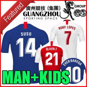 19 20 Sevilla Futebol Jersey 14 Suso 2019 2020 Camisetas masculinas Sevilha FC De Jong Ever Banega Marcos Lopes Dabbur L.OCAMPOS homem crianças camisas de futebol