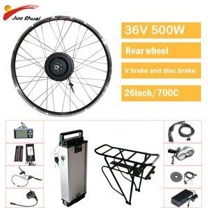 36v 500w Elektro-Fahrrad Umbausatz Heckmotor Rad 26inch 700c ebike e Fahrrad-Ausrüstung mit Lithium-Batterie bicicleta electrica