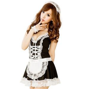 Conjunto de disfraz de sirvienta de encaje sexy Vestido de muñeca francesa Ropa interior de mujer Delantal de uniforme erótico blanco negro 2019 Caliente