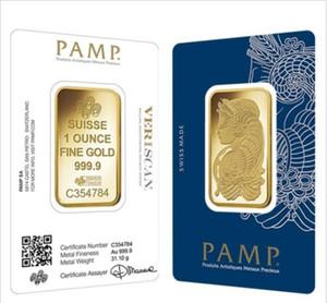 1 oz Gold Bar PAMP Presentes Suisse Lady Fortuna Veriscan alta qualidade de cópia banhado a ouro Bar Negócios Metal artesanato com número de série diferente