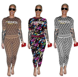 Yaz Kadın F Mektup Eşofman Kısa Kollu Kıyafetler Baskılı T gömlek Tee Pantolon Tayt 2 Parça Kıyafet Spor Sokak Seti AAA2220