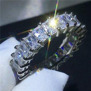 Regalo de Halloween al por mayor y al por menor plateado de moda Simple transparente medio círculo cuadrado anillo de diamante para las mujeres de moda tamaño 5-12