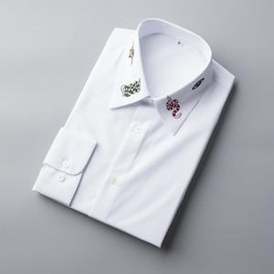Бизнес мужские рубашки сплошной цвет с длинным рукавом сорочка homme мужская одежда Рубашки мужские Большой размер Camisas masculina