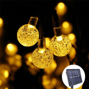 الجديد 20 المصابيح 5M كرة الكريستال مصباح الطاقة الشمسية LED سلسلة أضواء الجنية الشمسية أكاليل حديقة ديكور عيد الميلاد في الهواء الطلق