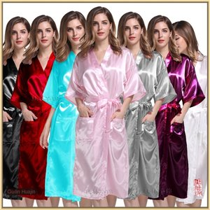 Imitation home clothes men's and women's general solid Pajamas silk and silk color pajamas long plain color robe No. M-XXXL CL-MS06