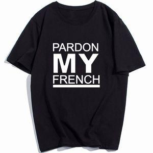 Homem Homens DJ Cobra T-shirt da luva de Raglan Skate engraçado Rapper Hip Pop Pardon My French Streetwear Camiseta padrão de marca de verão t