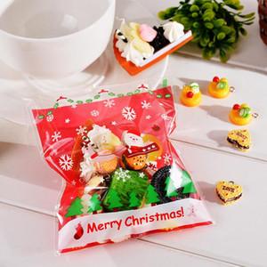 50 Pcs Sacos de auto-selagem de Natal Sacos de biscoitos de doces de plástico Sacos de presente autoadesivo Resealable New Year Gift Bag Pouch