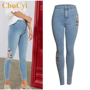 CbuCyi Moda Primavera Mulheres Bordados Skinny Jeans Plus Size cintura alta Washed Denim Jeans Calças Feminino estiramento Denim Pants