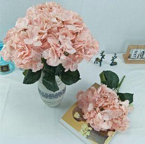 اللمس الحقيقي كوبية الحرير باقة وهمية زهرة لDIY مناسبات الزفاف الاصطناعي الزهور باقة 5 رؤساء Hydrange
