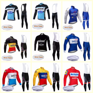 QUICK STEP-Team Radtrikot Winter-thermisch Vlies hombre Pro Radtrikot / Bycle bib lange Hosen Sets B619-12