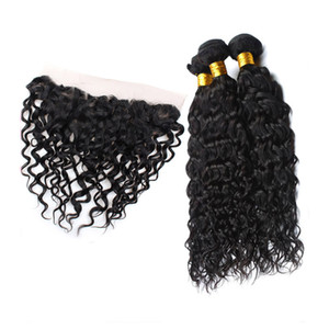 Peruvian Human Hair Water Wave Three Bundles With 13X4 Lace Frontal Virgin Hair Extensions Bundles With Frontal 4PCS