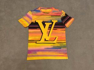 grafiti alfabesi baskı erkek ve kadınlar tişört çiftler boyama Lüks kaliteli grafiti tişört sokak modası marka Retro yağı kısa çma