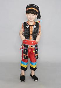 Bambini Maschio Miao prestazione ragazzo Hmong danza vestiti di prestazione del costume cinese Chinese Folk Dance