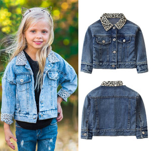 Girl Denim Jacket Coat Leopard Neck New Fashion Children Spring Autumn Coat Long Sleeve Kids Jacket Baby Coat Girl's BabyJackets