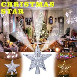 Christmas Tree Top regolabile stella LED luci leggiadramente della stringa Curtain proiettore Christmas Tree Topper decorazione in argento / oro