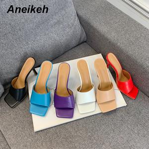 Aneikeh nuevas 2020 mujeres del verano del deslizador de la plaza del dedo del pie fino tacón alto sandalia de las señoras mulas de alta calidad de los zapatos de vestido elegante Diapositivas Y200423