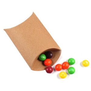 50 Pcs lot Cute Kraft Paper Pillow Favor Box Wedding Party Favour Gift Candy Packaging Home Party Birthday Supply