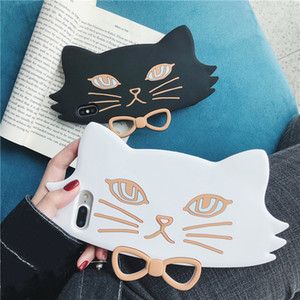 Silicone Black White Cate Wearing Bowknot Cell Phone Case for iphone 11 pro 6 6s 7 8 plus xs max xr xs