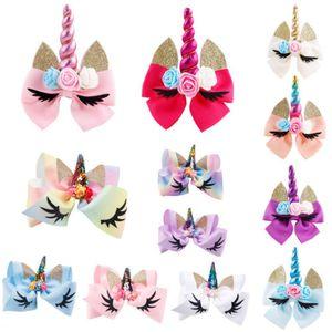 FOCUSNORM Yeni Moda 12PCS Unicorn Yaylar Snaps Saç Klip Kızlar Bebek Çocuk Saç Aksesuarları Klipler Hediye
