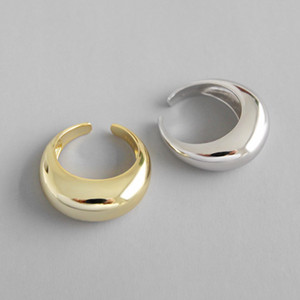 100% 925 Sterling Silver Geometric Arco anéis abertos para Estilo Mulheres New Chic Ampla Declaração ajustável anel Fine Jewelry
