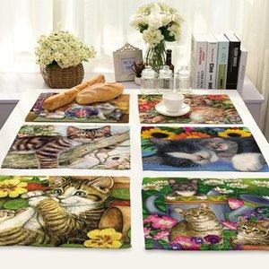 شيك القطط نمط أدوات المائدة وسادة تحديد الموقع القطن الكتان الجدول حصيرة العزل بسيط مطبخ السلطانية المفارش كوستر