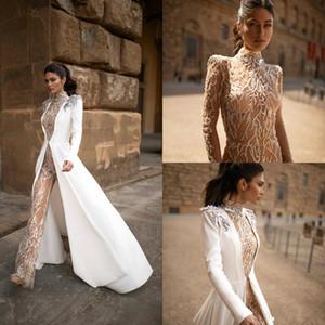 2020 Julie Vino Boho Abiti da sera tuta con giacca lunga a collo alto merletto borda Prom Dresses Una linea sweep treno Abiti da sposa 4517