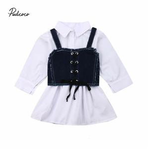 2019 아기 봄 가을 의류 1-6Y 패션 유아 어린이 아기 소녀 셔츠 드레스 + 데님 벨트 조끼 긴 소매 - 라인 드레스 세트