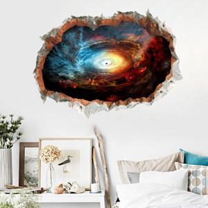 3D Сломанный Стикер Стены Черная Дыра Пространство Вселенной Планета Для Мальчик Комната Фантастический Орнамент Спираль Межзвездная Звезда Наклейки