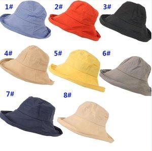 8 diverse ragazze di colore solido all'aperto cappello da parasole da parasole solare solare spiaggia cappello donna tessuto moda cappelli popolare vendita calda da282