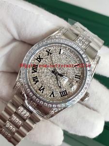 Venta caliente Relojes de moda unisex 36 mm 118346 Día Fecha Presidente Roman Dial Asia Mecánico automático Unisex Platino Diamante Bisel